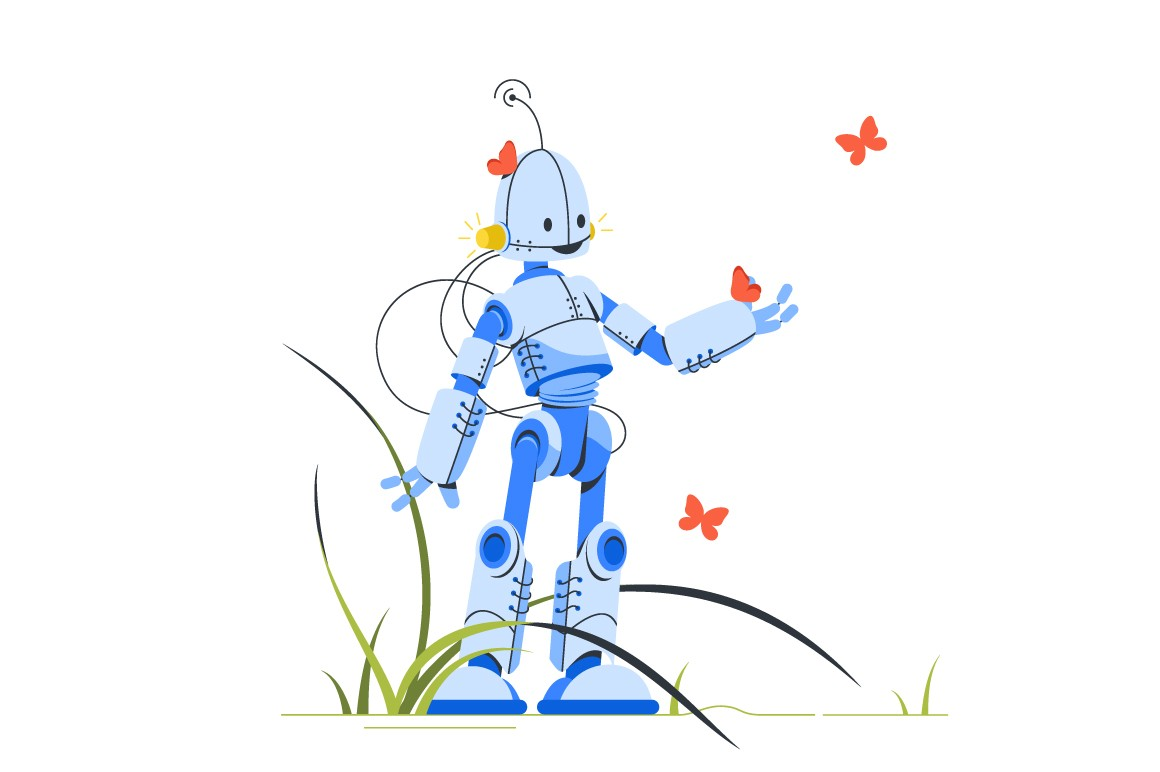 Happy robot standing in midst of butterflies