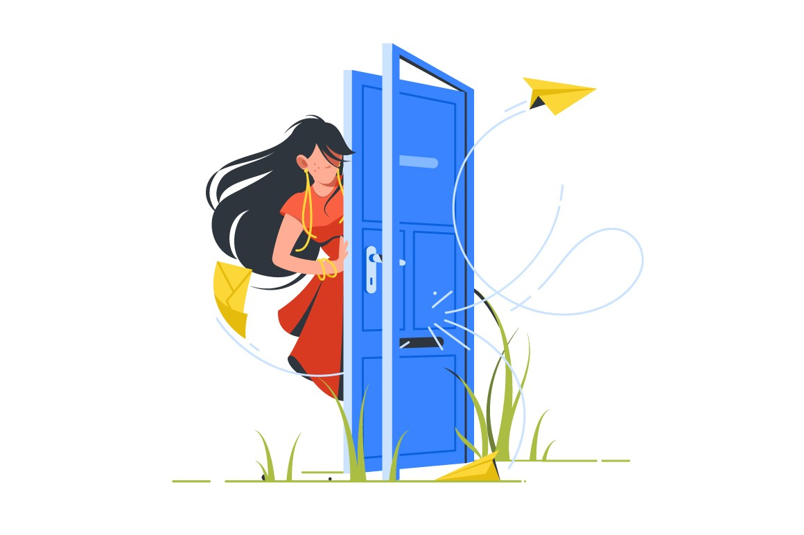 Abstract vector illustration of woman closing door for unsubscribe
