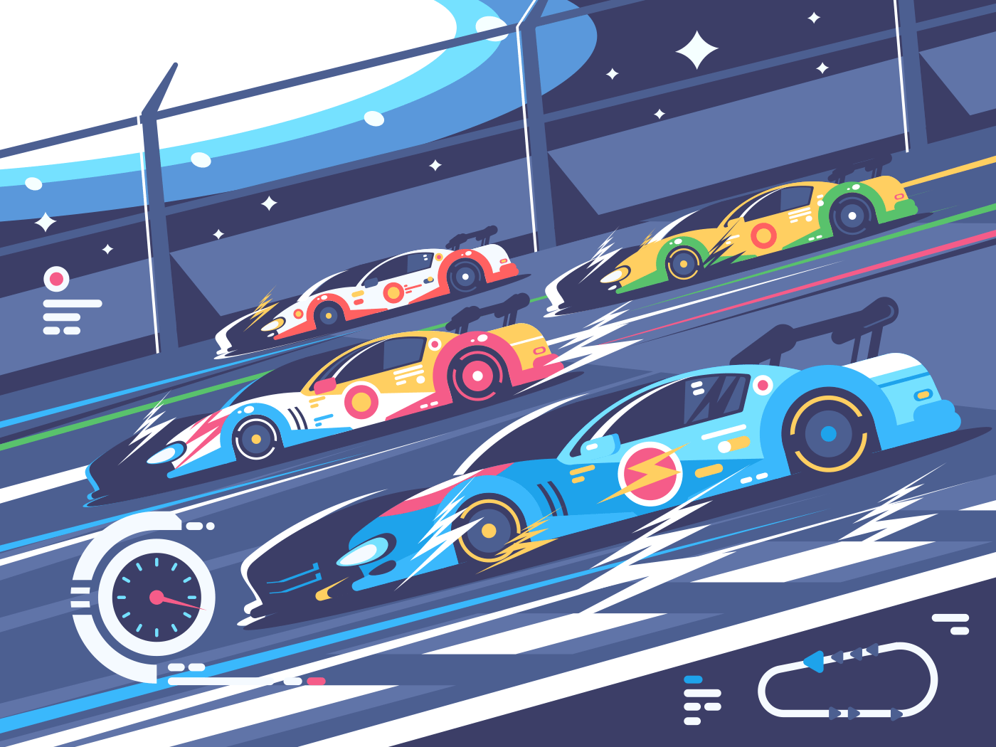 Sports car competitions. Group of cars rides on race track. Vector illustration