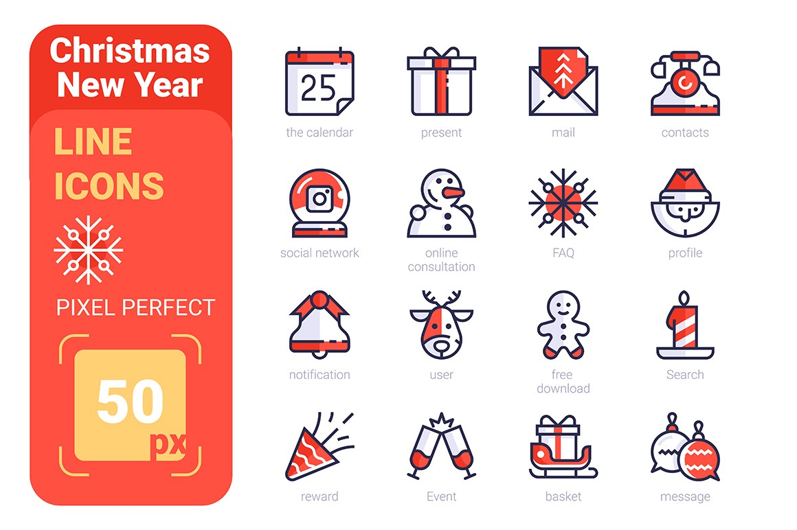 Christmas New Year Pixel Perfect Line icons FREE