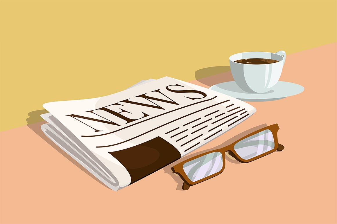Morning newspaper and coffee vector illustration. Journal with latest news, glasses and cup on table flat style design. Keep abreast of events concept