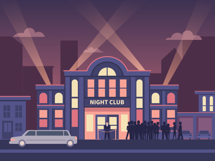 Night club building flat illustration