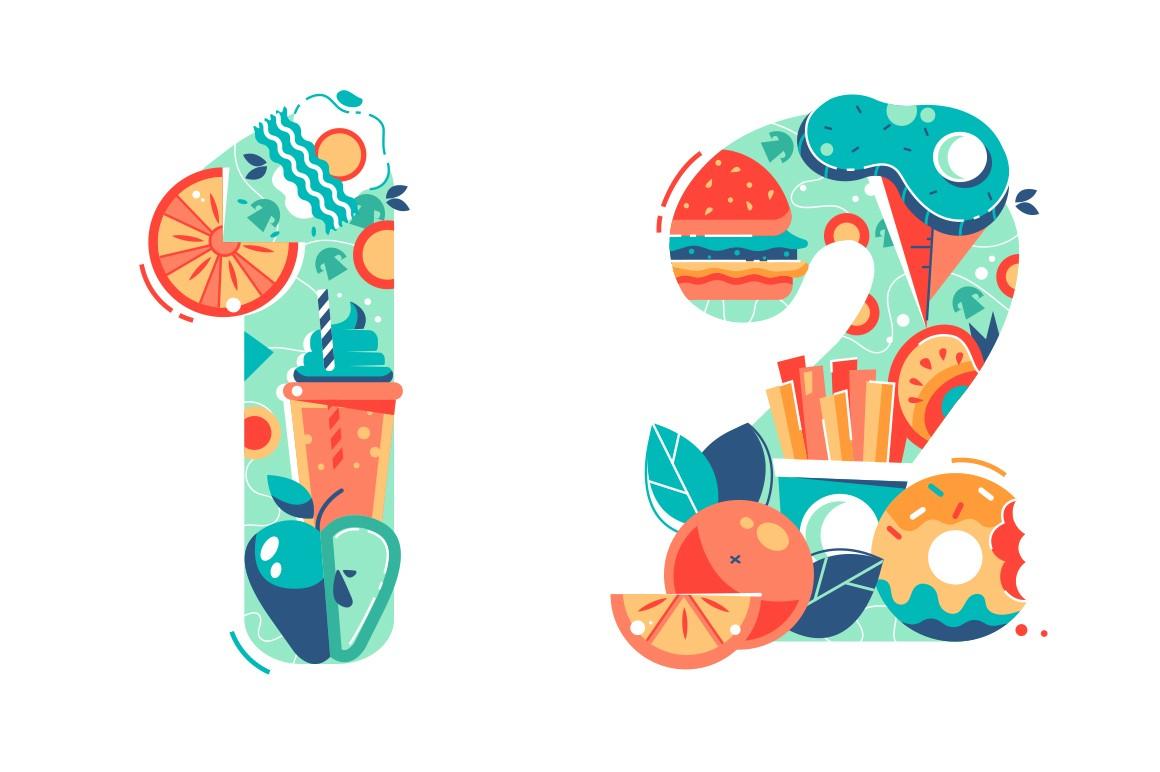 Summer seasonal numbers of one, two and twelve.