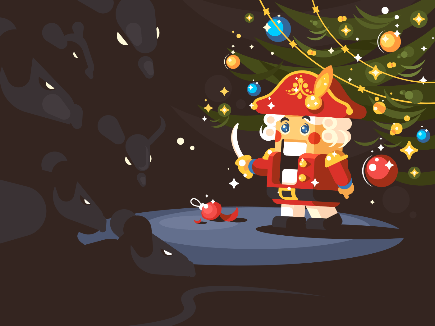 Character of nutcracker with saber under Christmas tree. Vector illustration