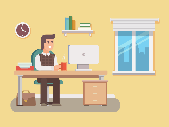 Office worker flat illustration