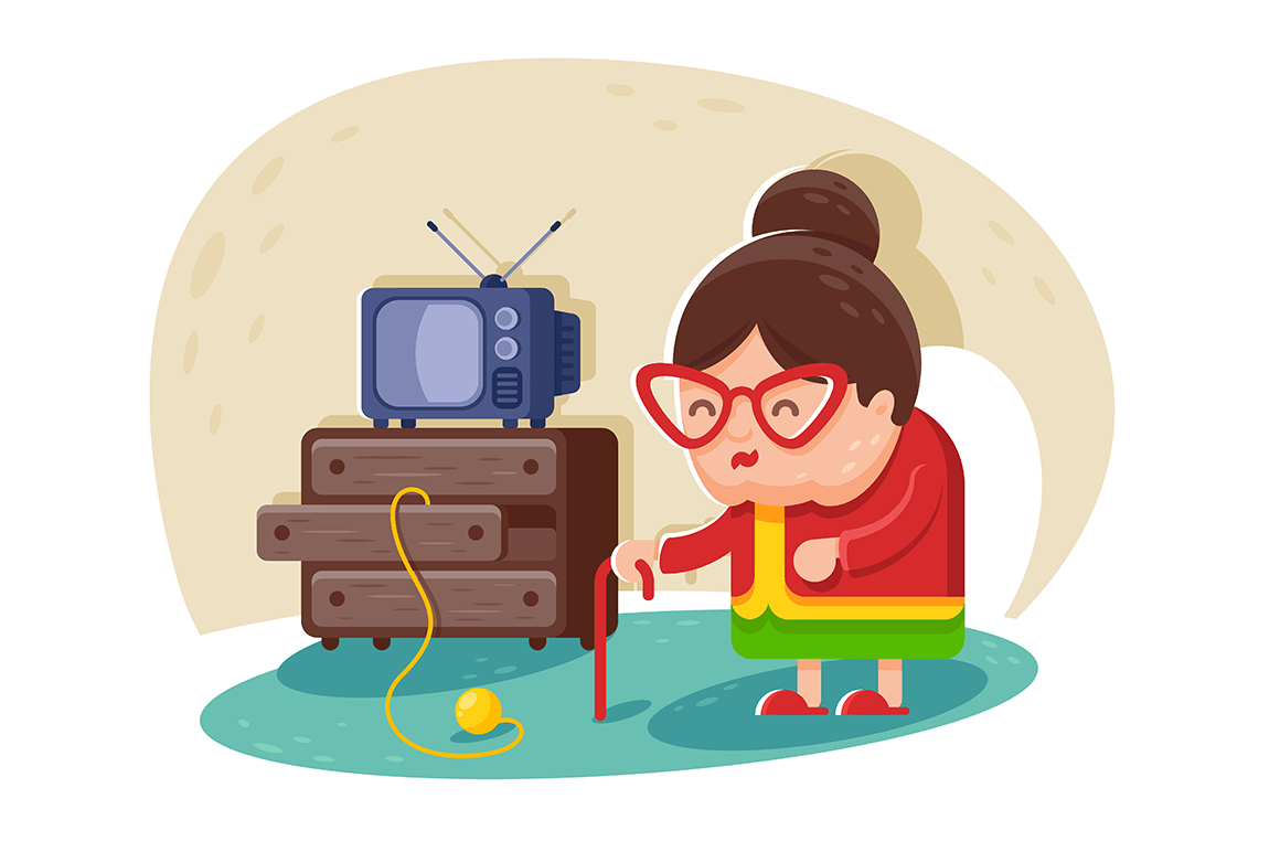 Flat cute old lady with glasses and cane near TV and wardrobe with balls of yarn.