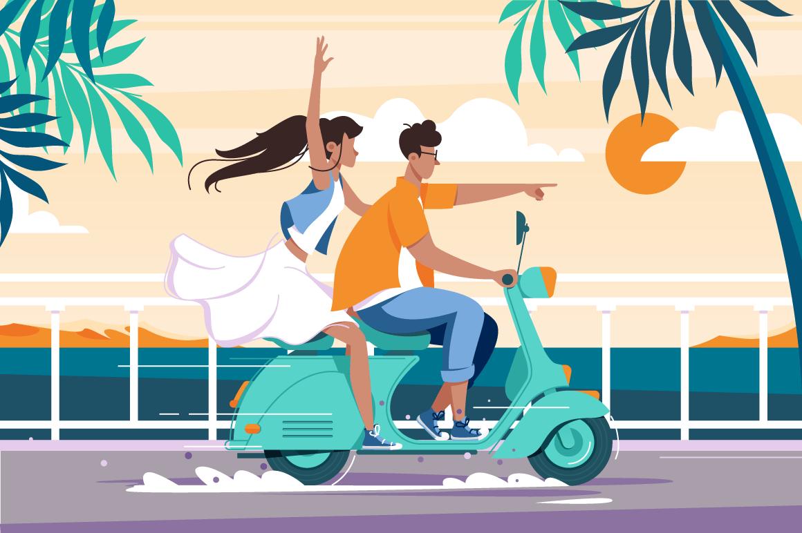 Flat man and woman couple riding on motorbike near summer sea.