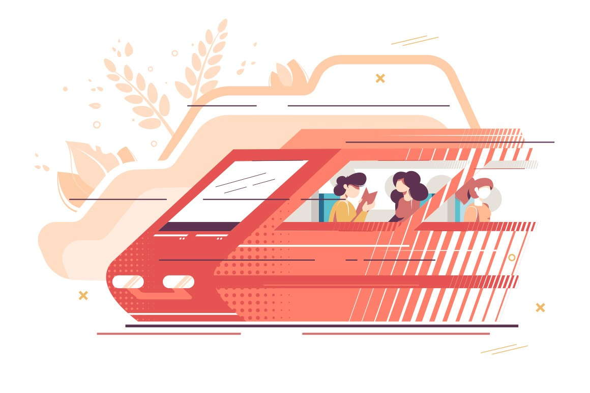 People travelling by train