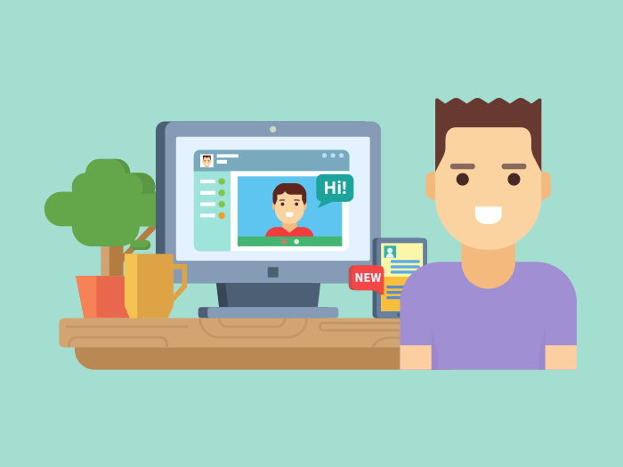 Online social communication flat illustration
