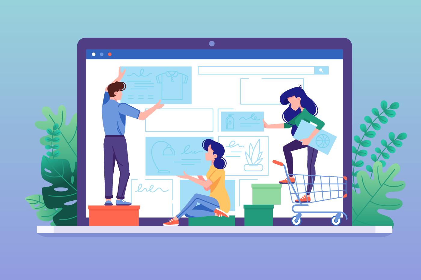 Design online store. Creating web shop interface