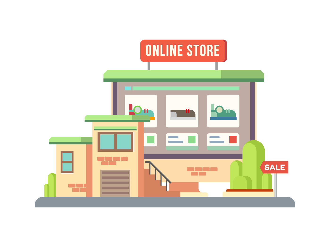 Online Shop Building vector concept flat illustration isolated white background