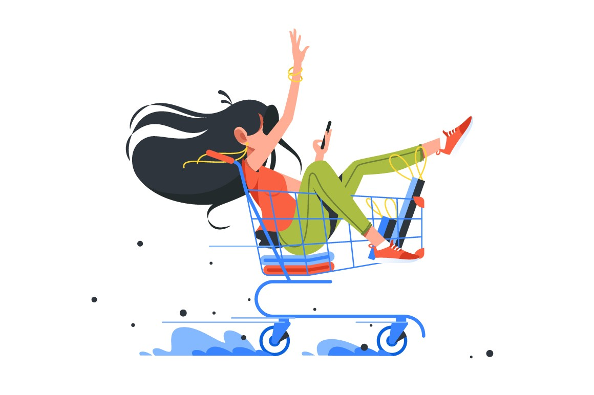 Funny young girl rides shopping cart after order complete.