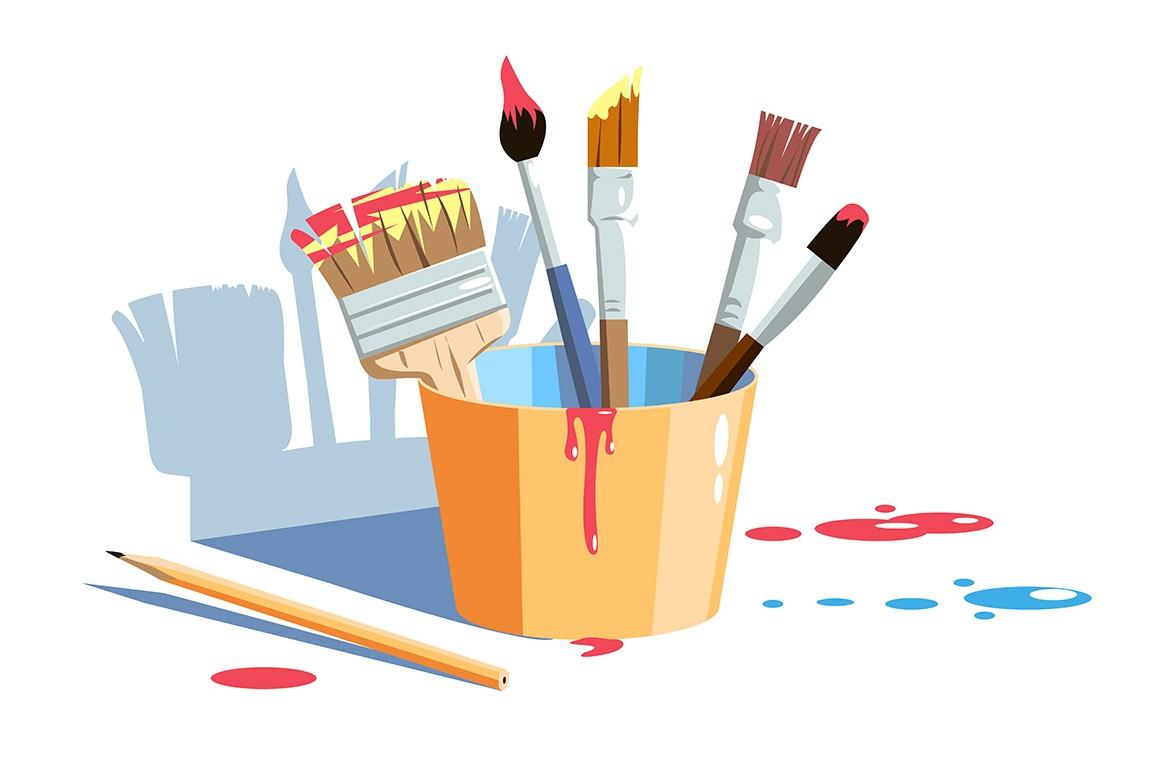 Yellow container different sizes and shapes vector illustration. Colours smear on paintbrushes flat style. Pencil for drawing. Tools for painting. Isolated on white background