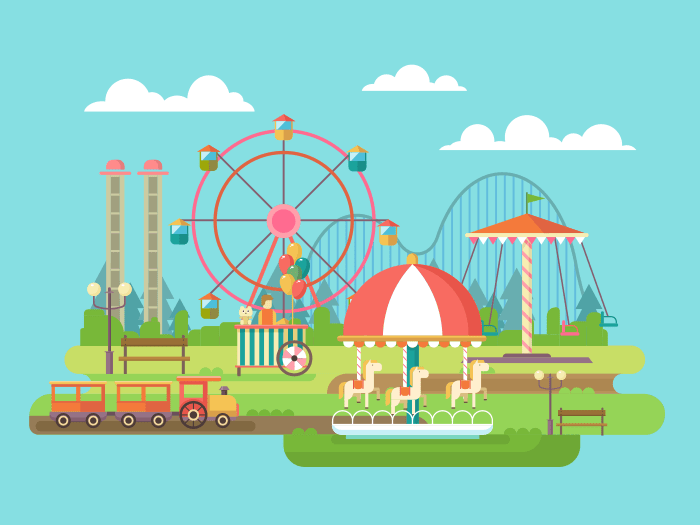 Amusement park flat vector illustration