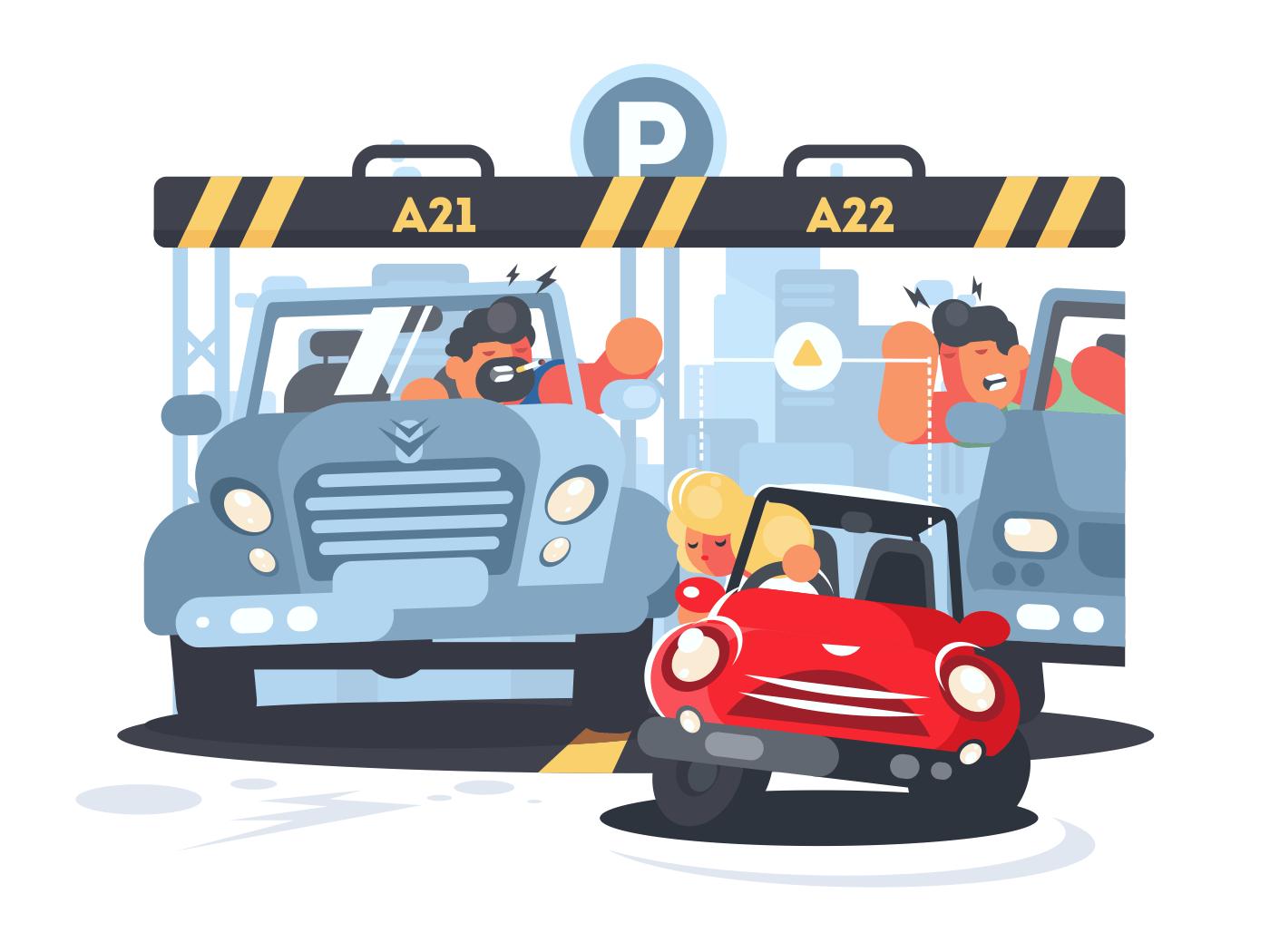 Blonde girl puts little car on narrow parking place. Vector illustration