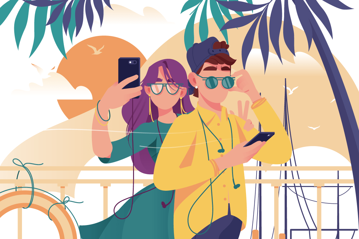 Young man and woman couple with mobile phone, glasses and summer clothes makes photo.