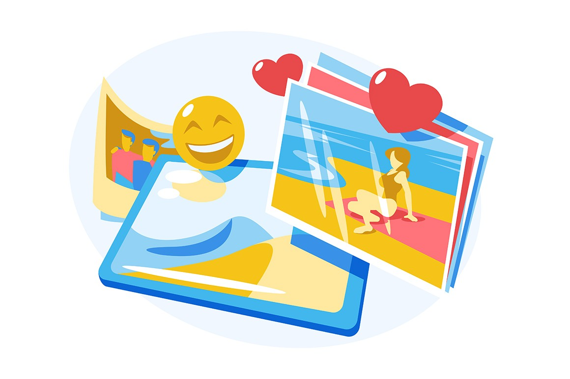Photos in photograph album vector illustration. Snapshots with likes and smile emoji symbols flat style design. Summer holidays and memories concept. Isolated on white