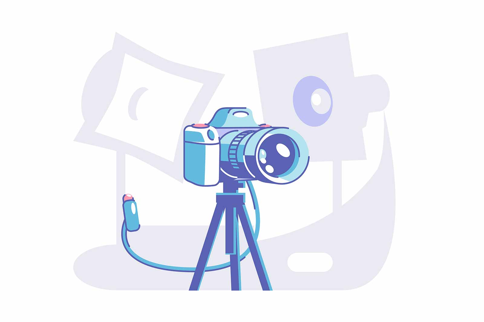 Preparation for professional photoshoot vector illustration. Camera standing on tripod flat style. Special equipment for model. Modern technology concept. Isolated on white background