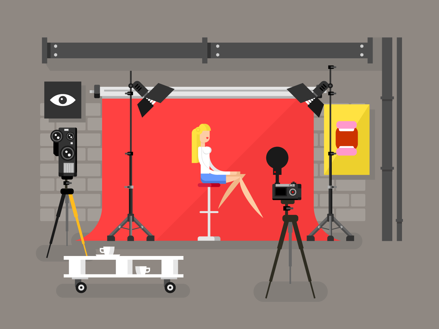 Photo studio interior with model flat vector illustration