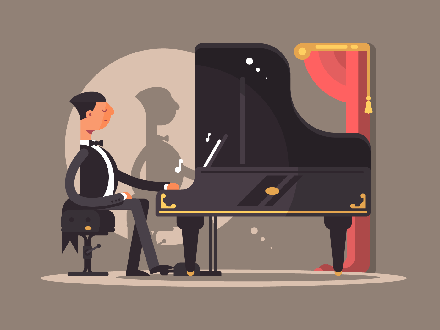 Pianist performs at concert flat vector illustration