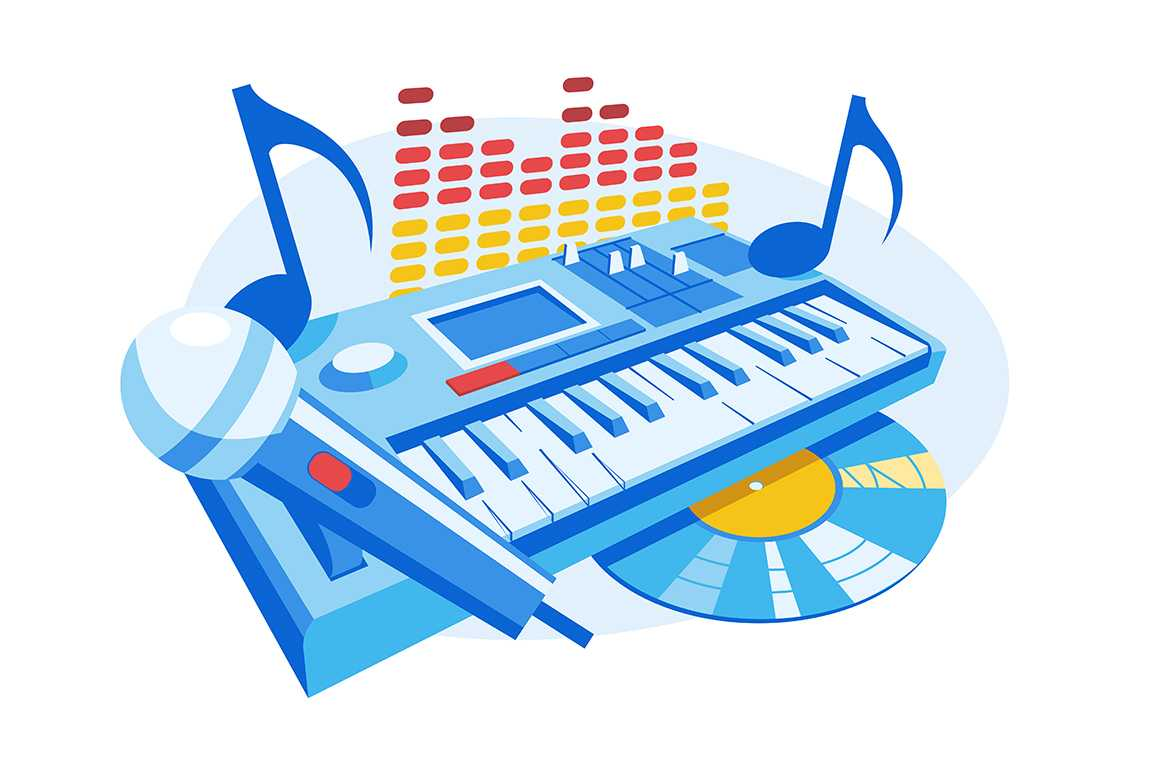 Modern electronic musical instrument vector illustration. Piano music. Synthesizer, microphone and music record flat style concept. Notes and equalizer signs. Isolated on white background