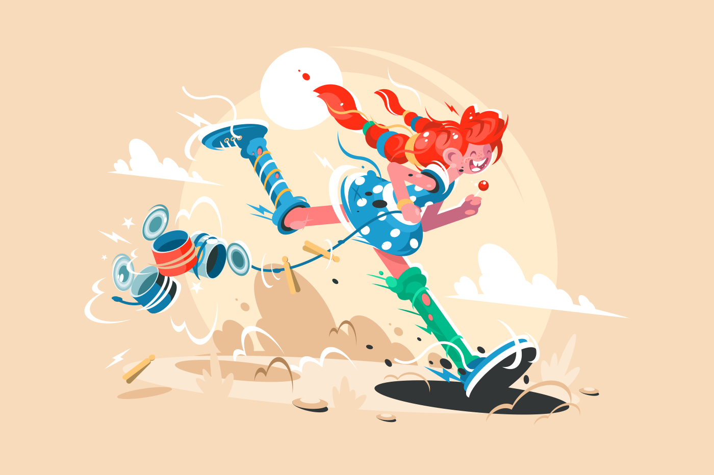 Well-known fairy tale character pippi long stocking. Cartoon funny girl. Vector illustration