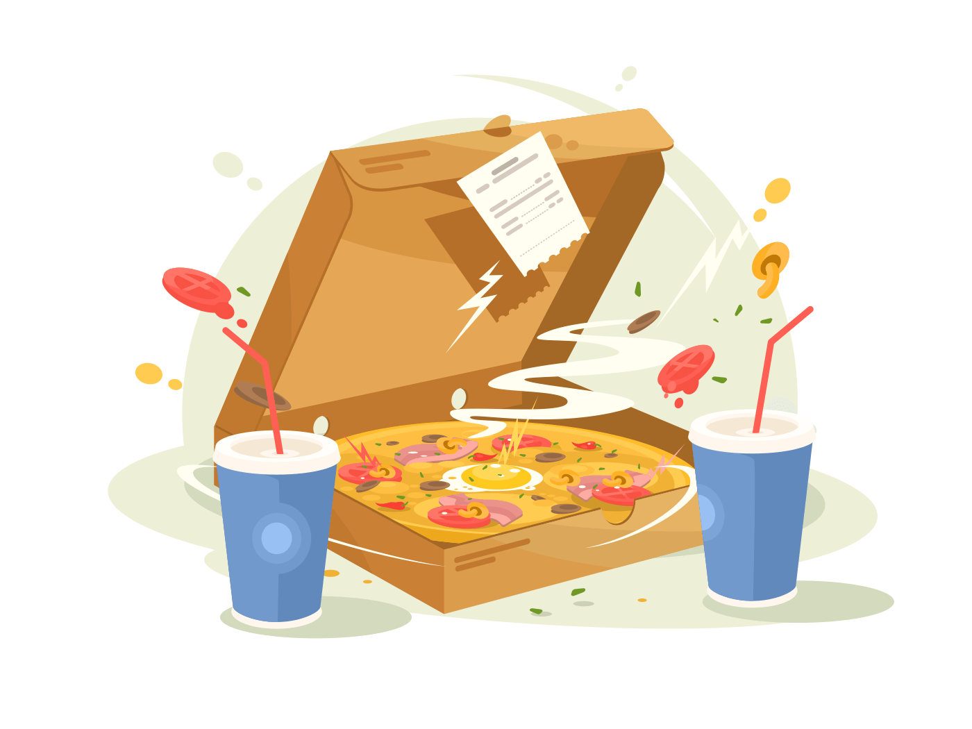 Pizza fast food illustration