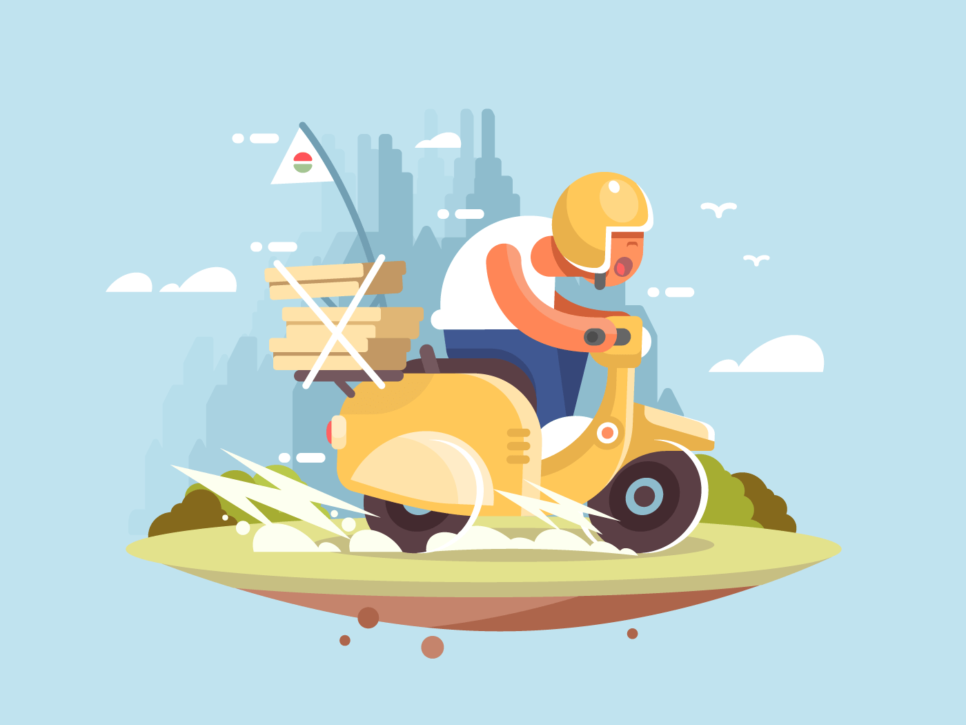Pizza delivery man flat vector illustration