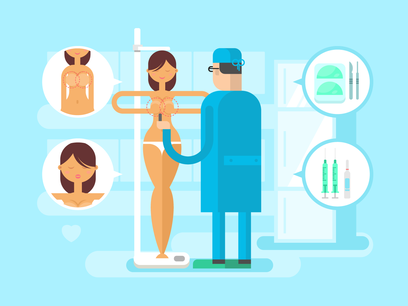 Plastic surgery character flat vector illustration