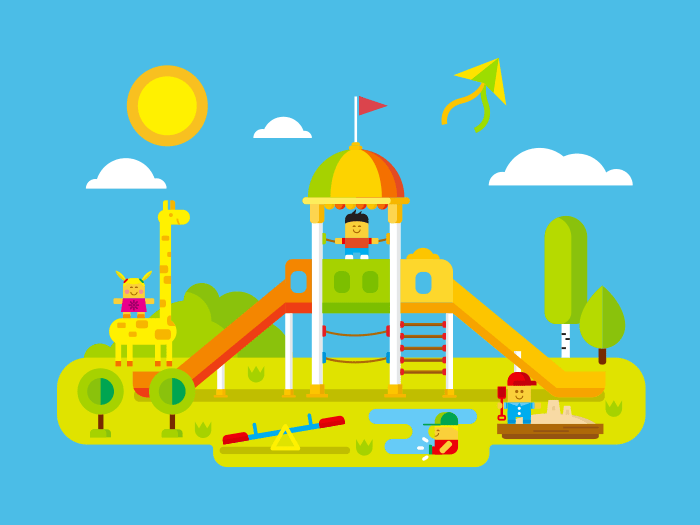 Childrens playground flat illustration