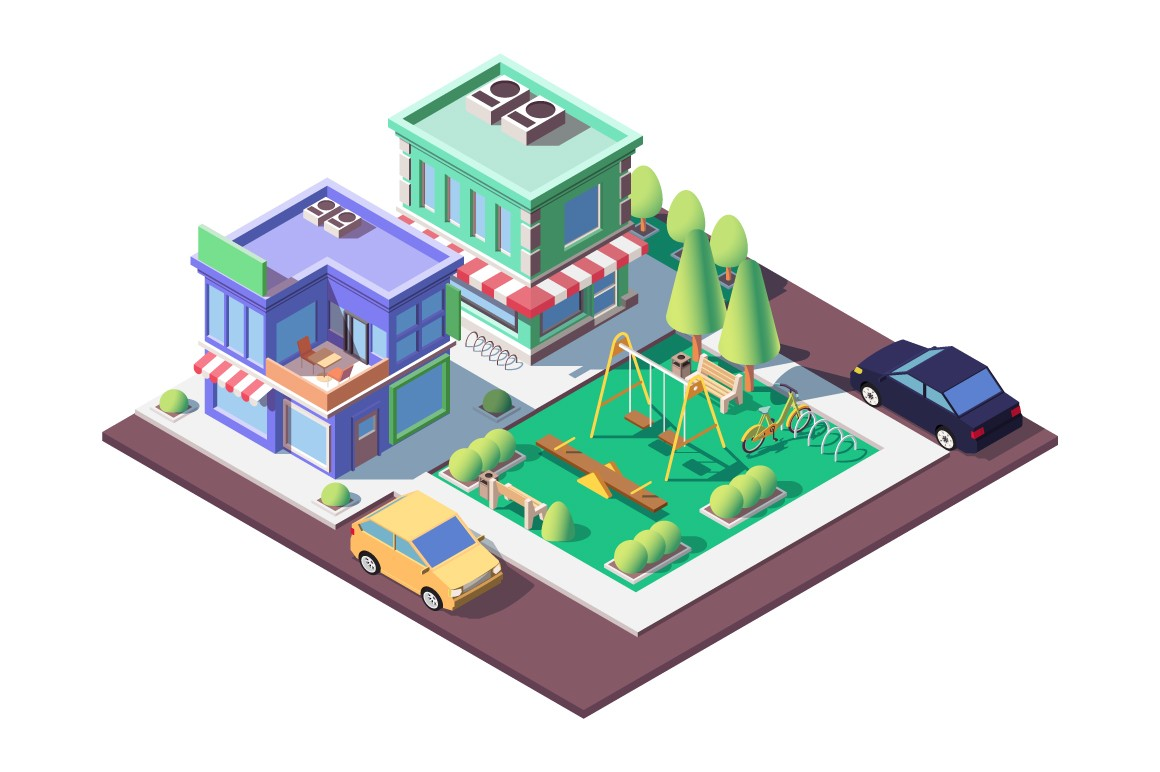 3d isometric square ground playground near shop and parking.