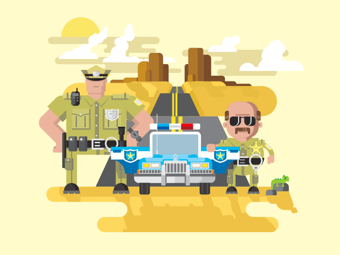 Texas police flat vector illustration