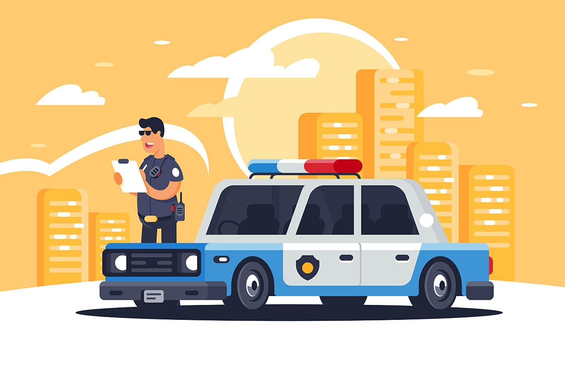 Urban modern sedan police car with policeman for protection of people on background of city.oster. Artist young woman sitting at easel and drawing with paint brushes still life of vase and fruits vector illustration. Concept of creative hobby