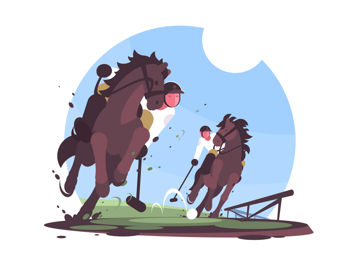 Players playing polo on green field. Rider with stick on horse. Vector illustration