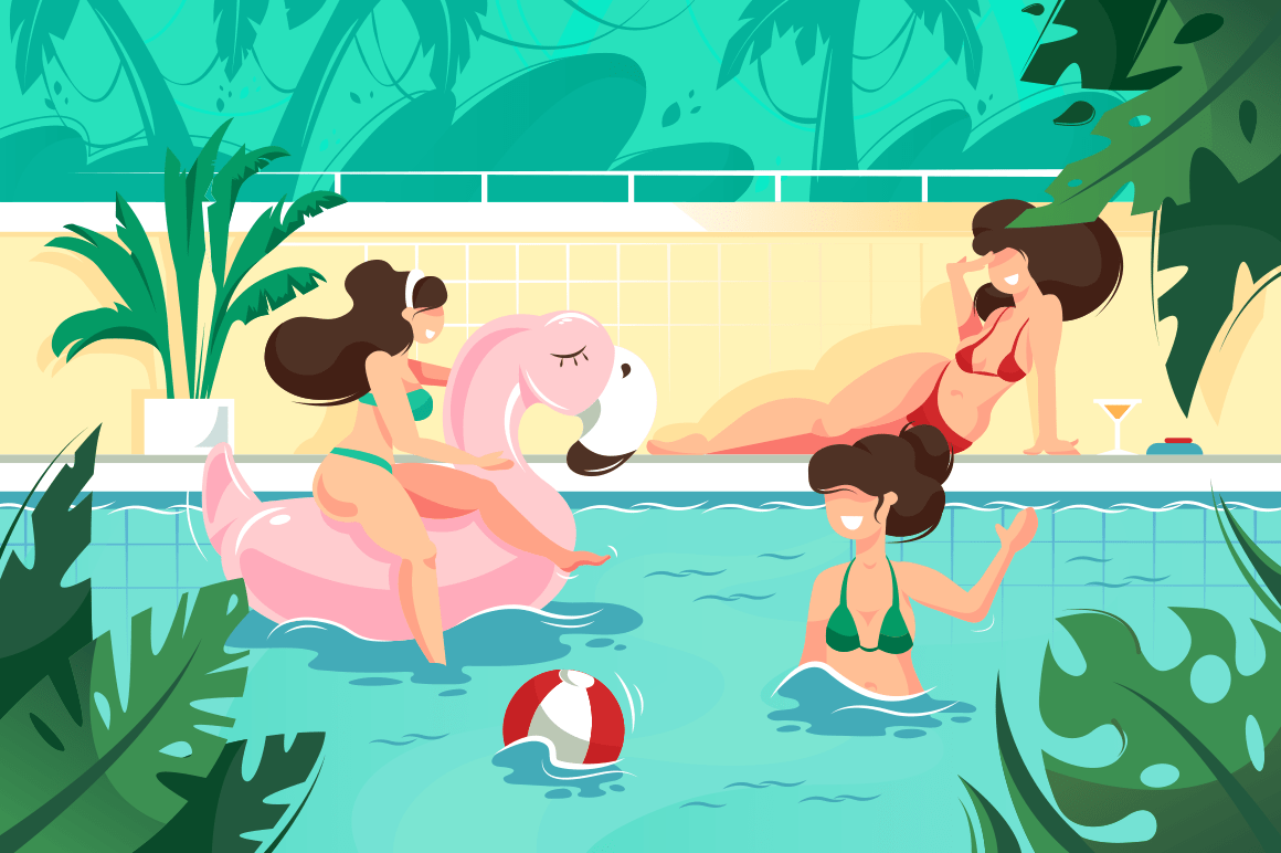 Flat young smile woman with ball and pink flamingo inflatable circle in swimming pool.