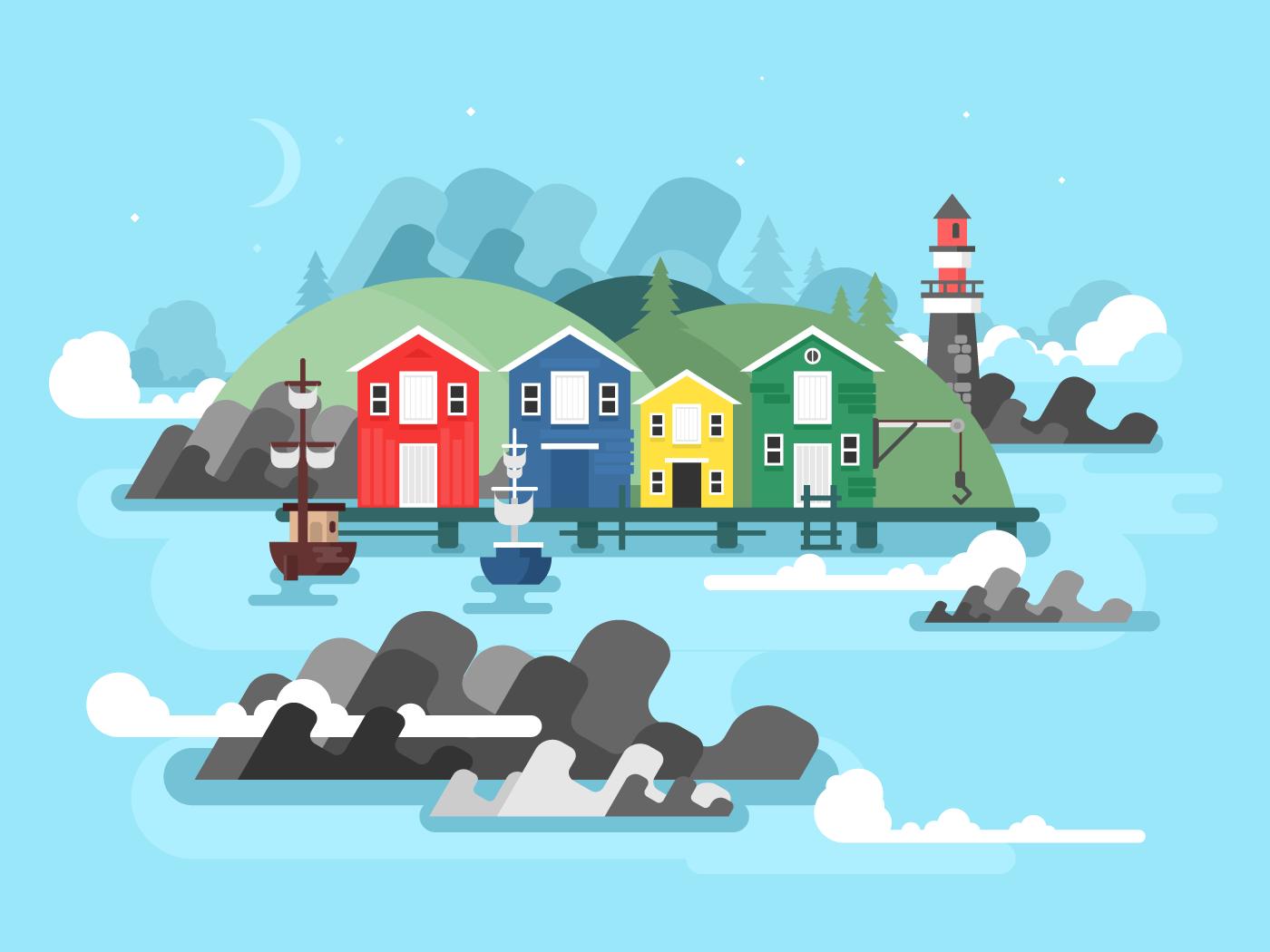 Port sea or ocean harbour flat vector illustration