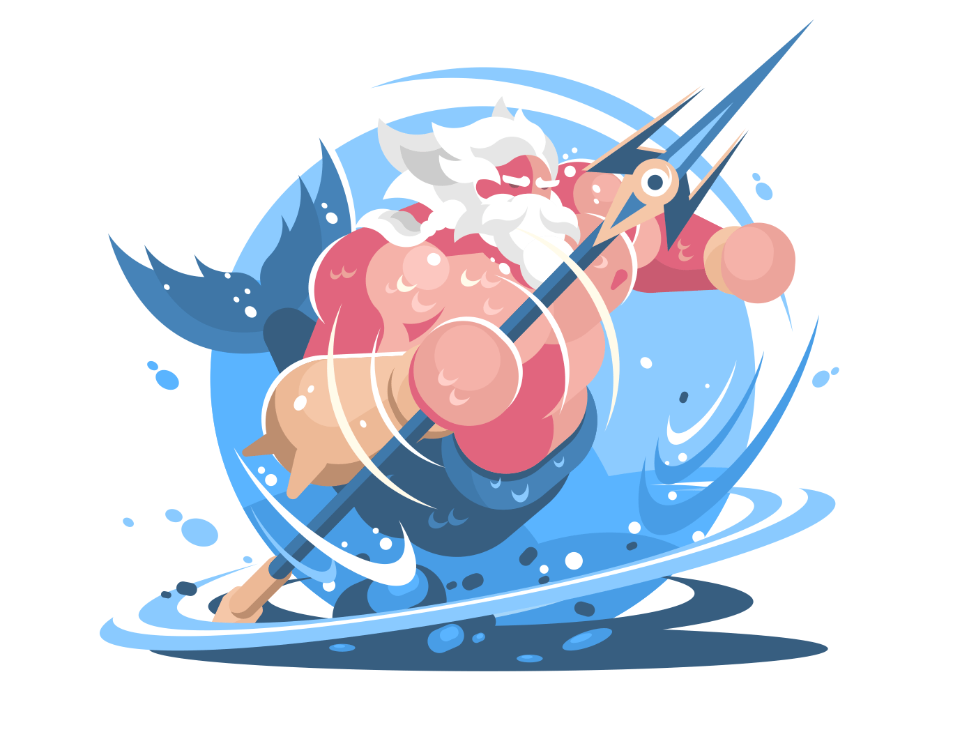 Character poseidon with trident. God of sea and ocean. Vector illustration