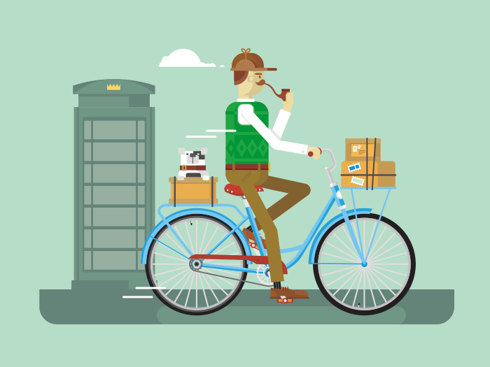 Retro postman on a bicycle flat vector illustration