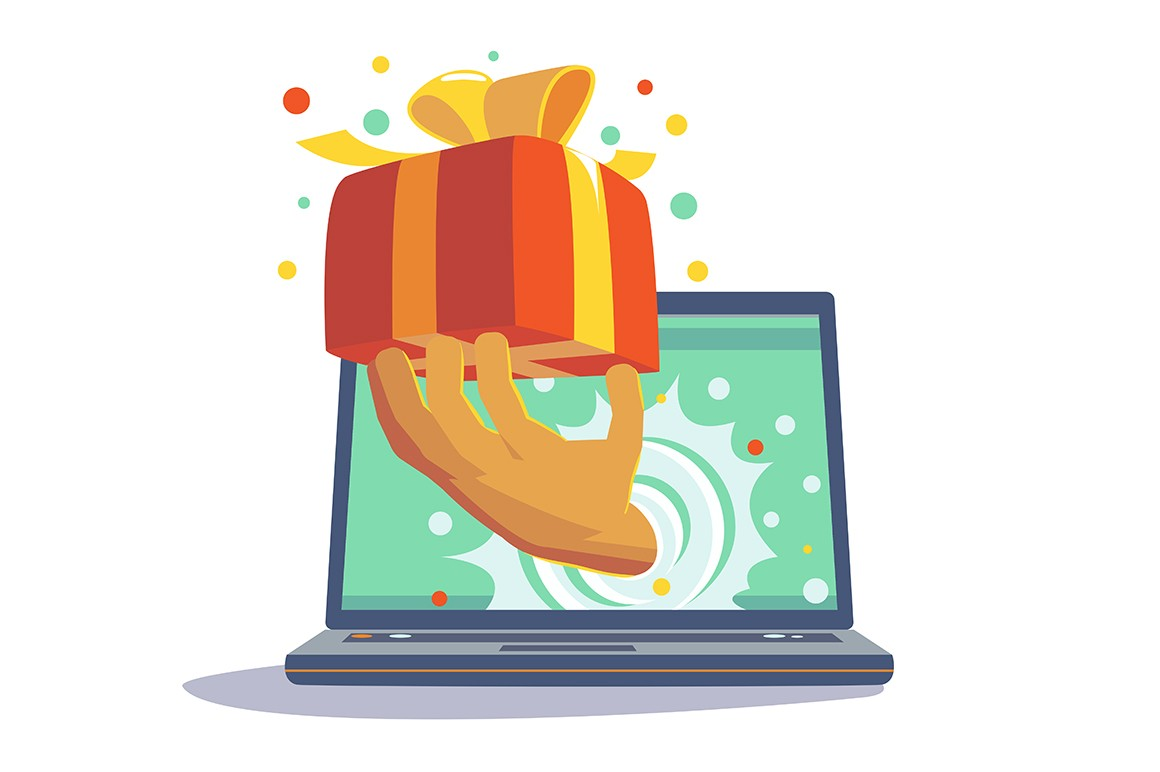 Present from website vector illustration. Person hand out from laptop monitor presenting festive giftbox with bow flat style concept. Marketing campaign for regular customers and online shopping