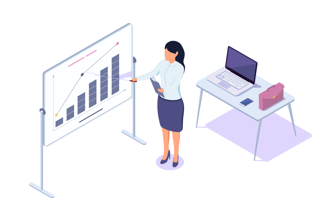 Isometric 3d young businesswoman presentation success statistic with laptop and diagram.