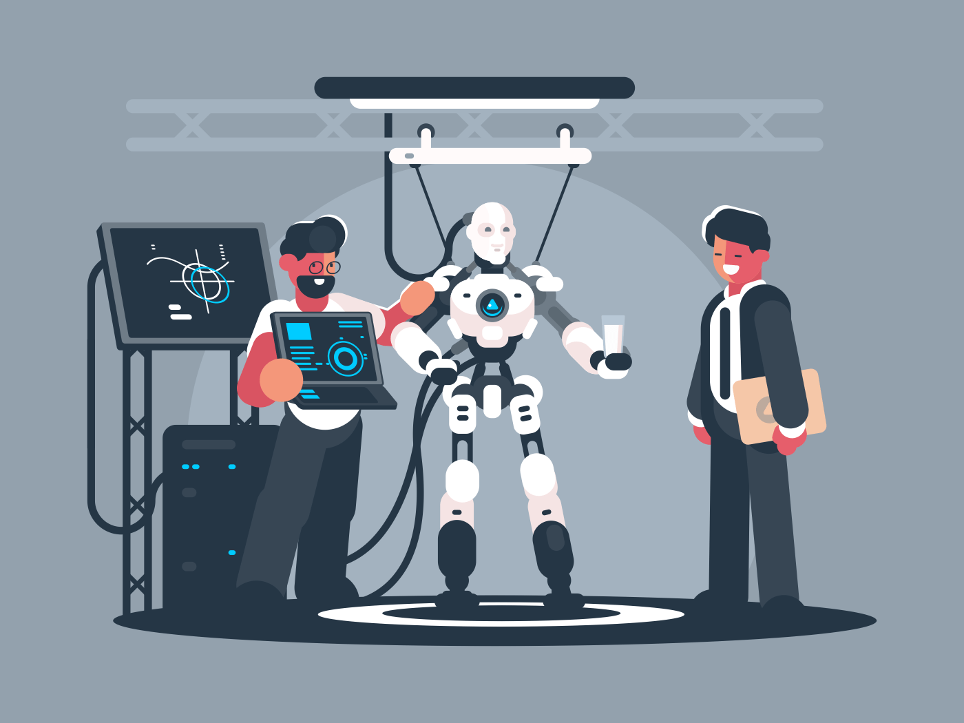 Presentation of modern robot. Robotics engineer shows new technologies. Vector illustration