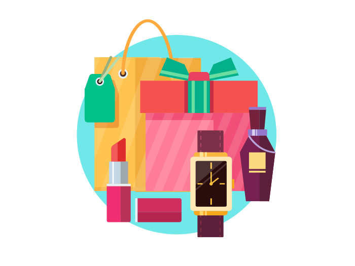 Gift box and various gifts flat illustration