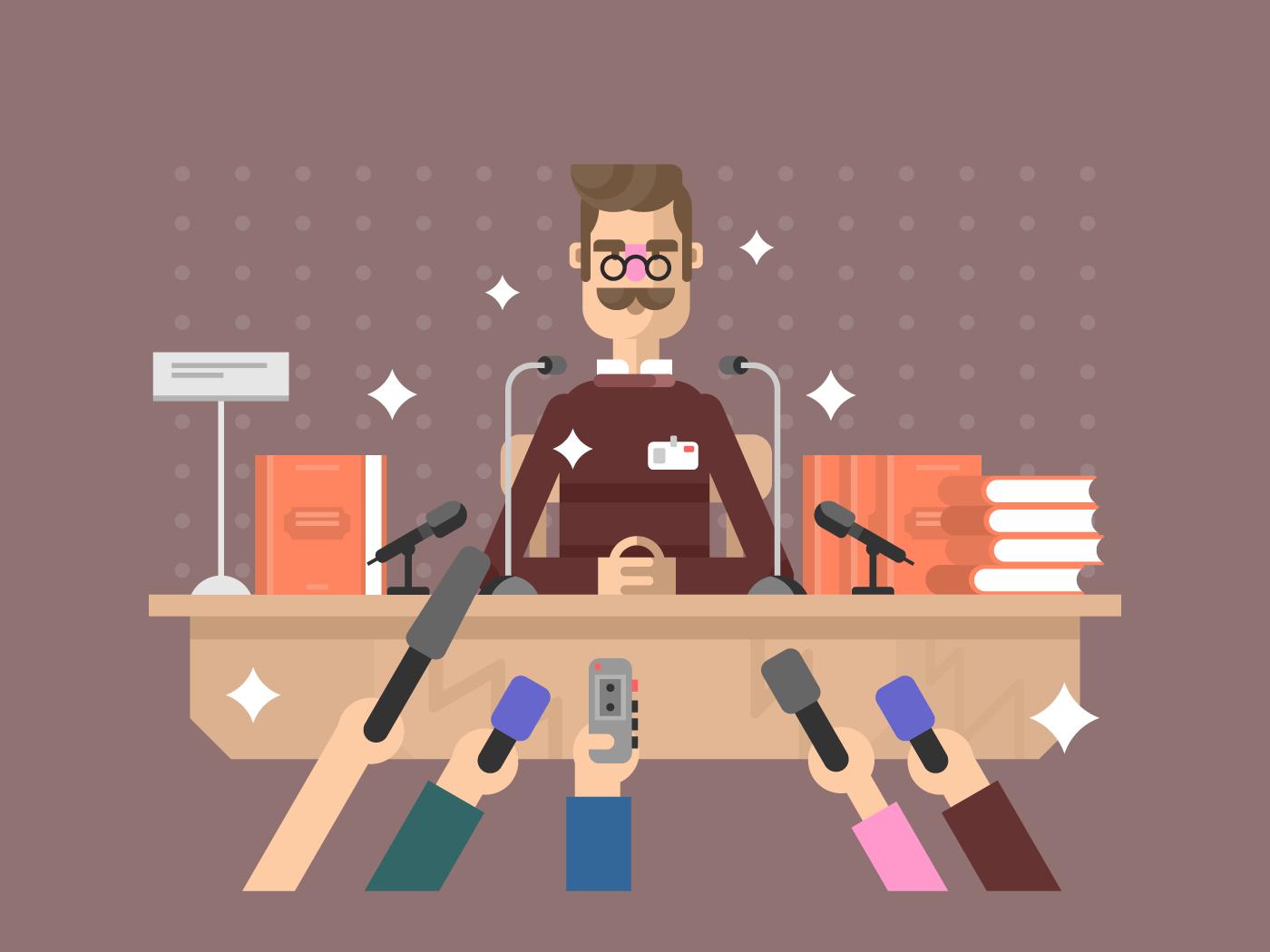 Press conference man flat vector illustration