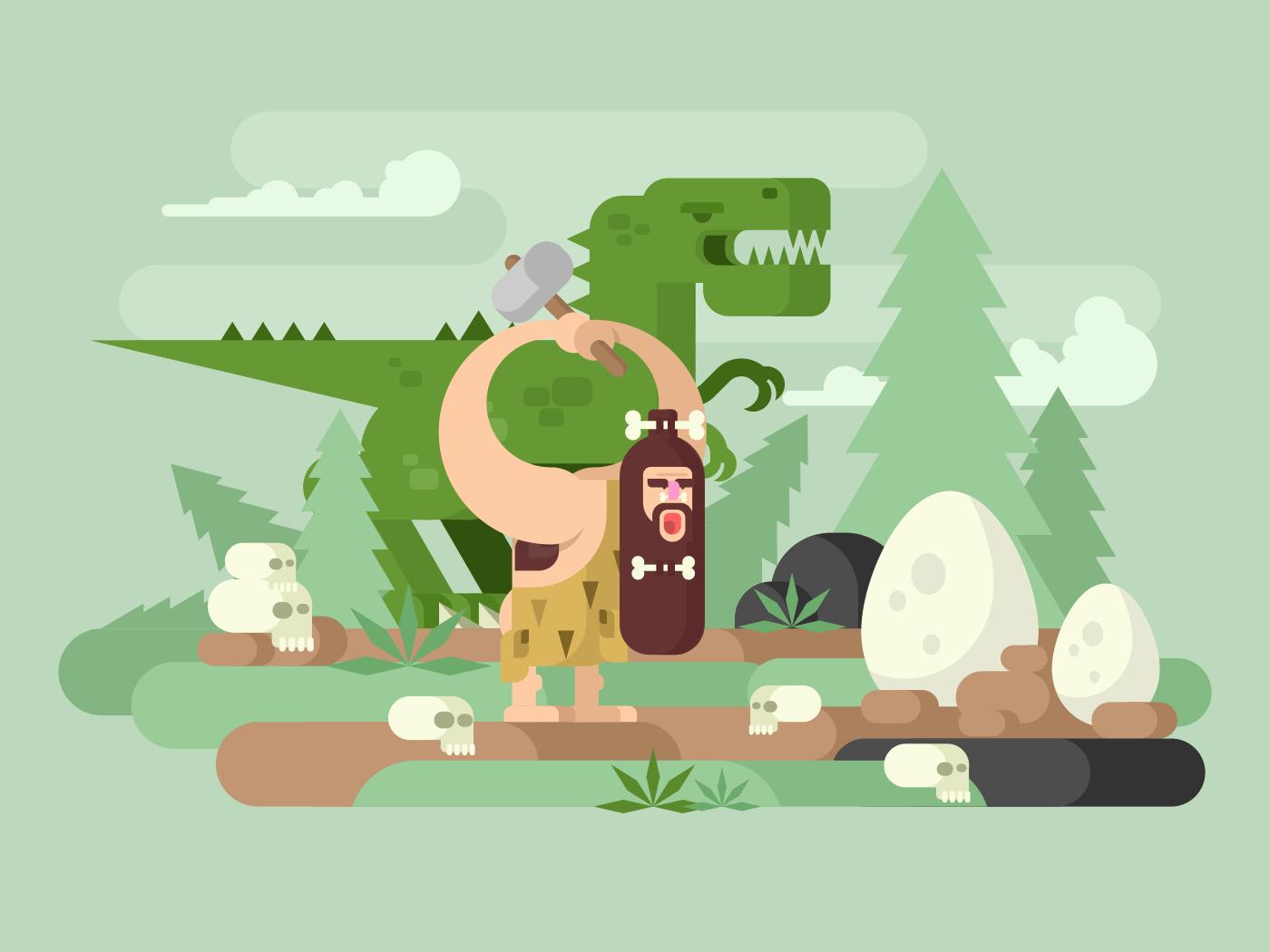 Primitive man with dinosaur flat vector illustration