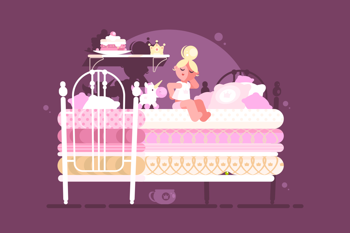Little princess on pea. Girl slept on uncomfortable bed. Vector illustration