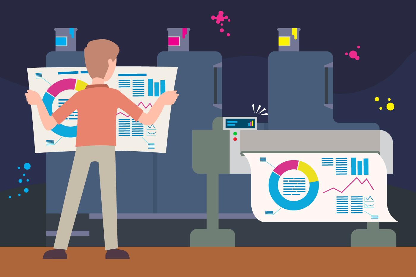 Guy print graph on printer