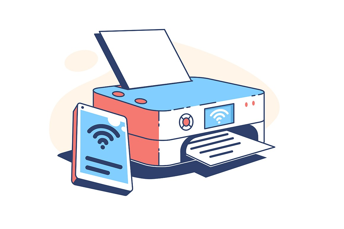 Printer machine at work vector illustration. Electronic device for printing paper flat style. Connection to smartphone. Modern technology and development concept. Isolated on white background