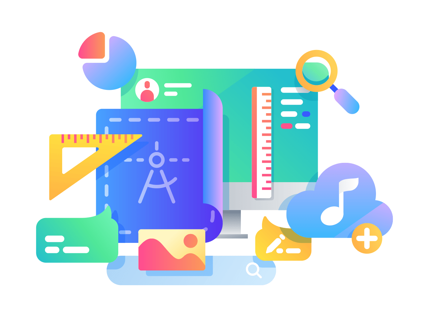 Process of creating web page design, adding service icons to application. Vector illustration
