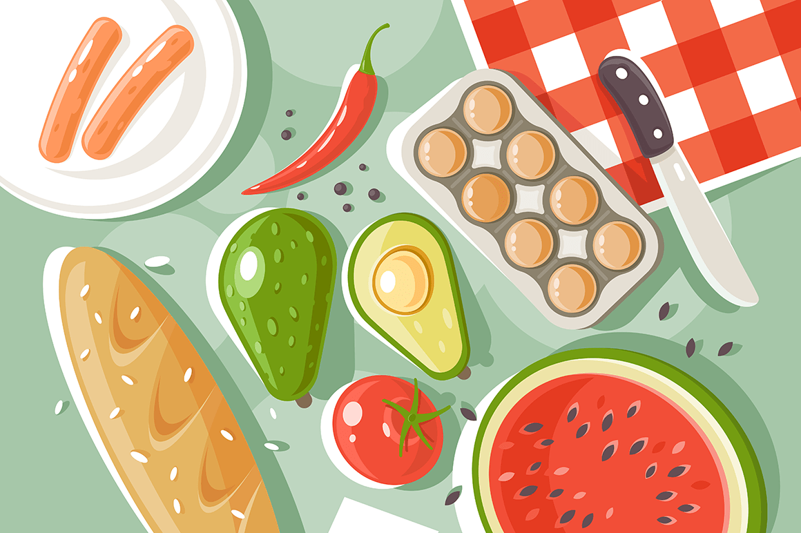 Flat set picnic products with bread, watermelon, egg, sausage, tomato, paper.