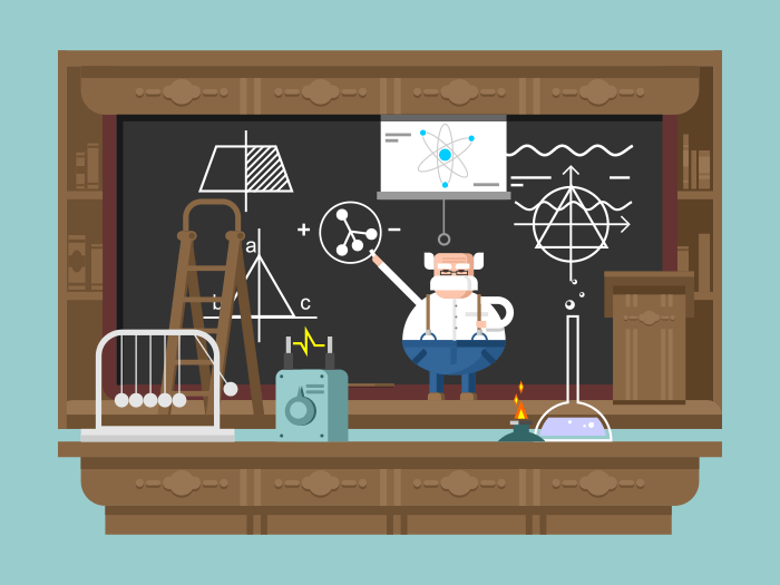 Lecture by professor flat vector illustration